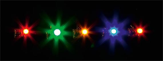 5 led in colori differenti